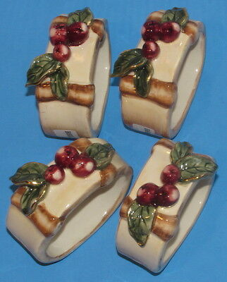 4 Harvest Napkin Rings Blue Sky Clayworks Heather Goldminc w Berries & Leaves
