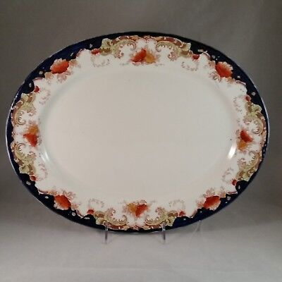 Bishop Stonier Repton Oval Platter 16 Inch Green Scrolls Rust Floral Cobalt Blue