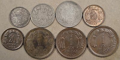 Chile 8 Coins 1899/7-1953 Ten Centavos-Peso Lower Grade-Unc As Pictured