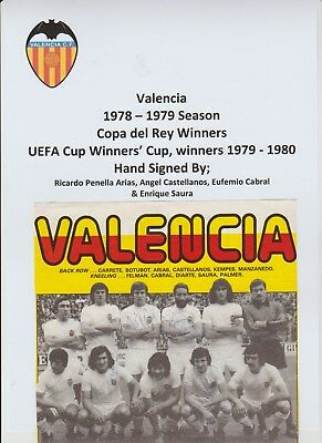 Valencia 1978-1979 Season Original Hand Signed Mag Team Group 4 X Signatures
