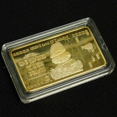 Zimbabwe 100 Trillion Dollars Gold Foil Bullion Bar Ingot (Zm1GB)