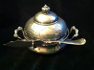Antique Victorian 4 Part Homan Silverplate Co. Quadruple Covered Butter Dish