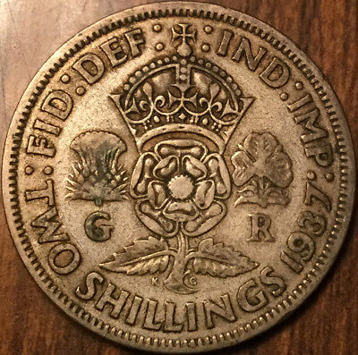 1937 Gb Uk Great Britain Florin .500 Silver