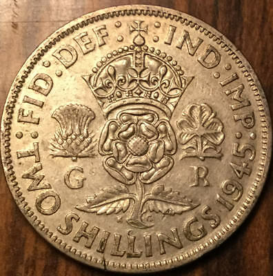 1945 Gb Uk Great Britain Florin .500 Silver