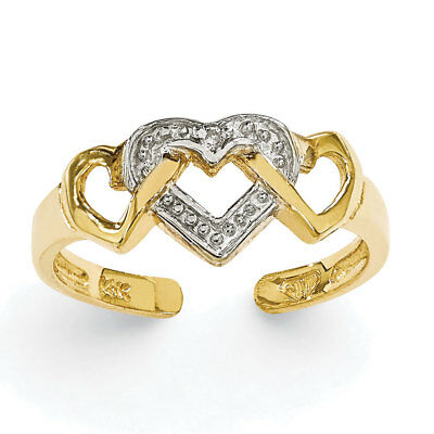 14k Yellow Gold 3 Intertwined Hearts Adjustable Toe Ring - 0.84 Grams