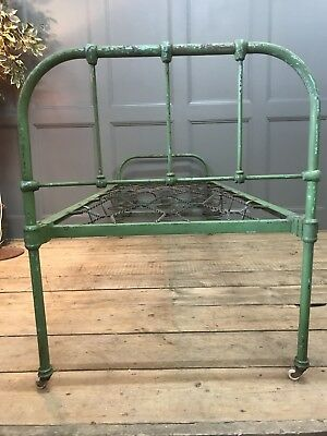 Edwardian Childrens Hospital Bed With Original Green Paint Daybed, Chaise,