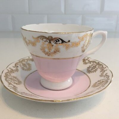 Pink Vintage Bone China Tea Cup & Saucer Harlequin Gold Chintz Royal Sutherland