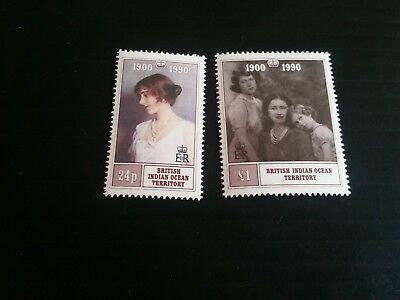 British Indian Ocean Territory 1990 Sg 106-107 90Th Birthday Ofqueen Mother Mnh