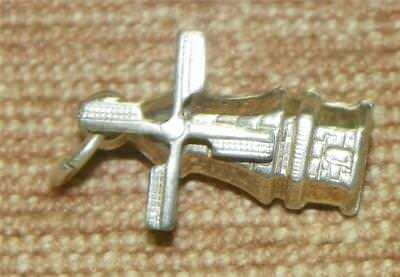 Vintage Sterling Silver charm 3D Windmill Blades spin Dutch 835 sword mark  #7S