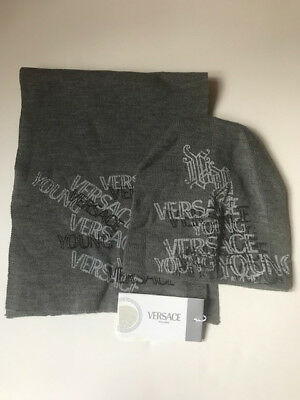 Versace Young New With Tags Scarf And Hat Set, Size Boys 10-12
