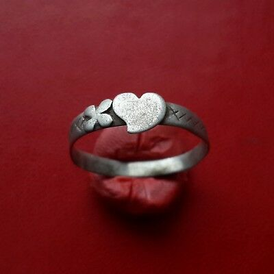 Medieval silver ring with Heart, about 17-18 century