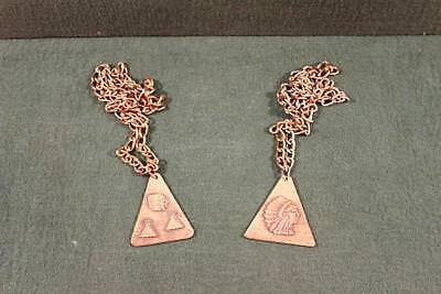 Pair of Copper Plated Chain Necklaces with Indian Triangle Plates-BL