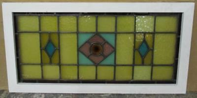 "LARGE OLD ENGLISH LEADED STAINED GLASS WINDOW Neat Victorian Geometric 35"" x 18"""