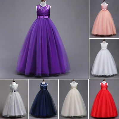 AU Toddler Kids Girl Lace Bowknot Wedding Bridesmaid Pageant Party Formal Dress