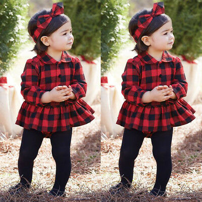 Toddler Infant Baby Girl Plaid Cotton Romper Bodysuit Jumpsuit Dress Tops Outfit