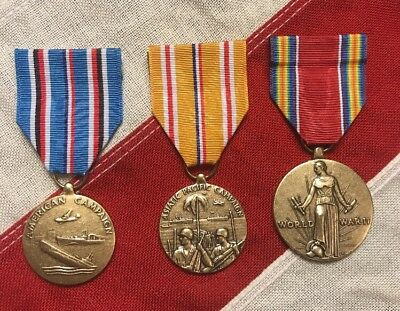 3 WWII US Medal Set   American U0026 Asiatic Pacific Theater Service   WW2  Campaign