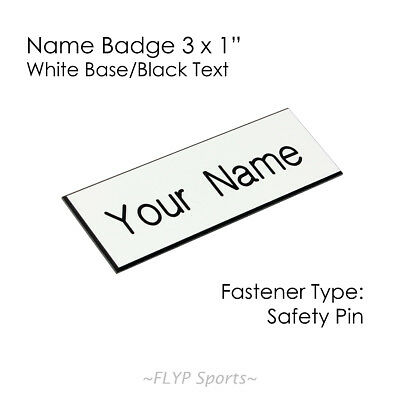 """Name Badge Tag Plate White/Black Safety Pin 3x1"""" Personalised Engraved Custom..."""