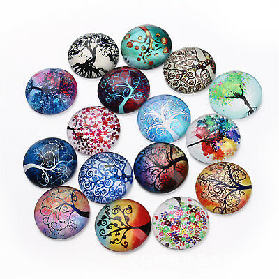 10-25mm Mix Colorful Tree Round Glass Cabochon Cameo Pendant Flat Back 20pcs/lot