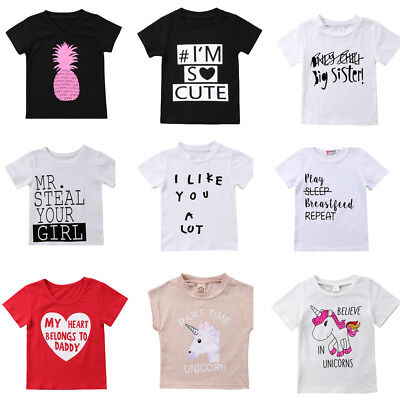 Fashion Cute Kids Baby Boy Girl Letter Unicorn Summer Short Sleeve Tops T-shirt
