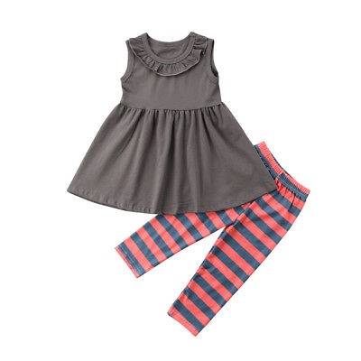 Stylish Kids Baby Girls Sleeveless Tops Dress Pants Leggings Outfits Clothes US