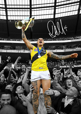 Dustin Martin Celebration with Fans Grand Final 2017 Autographed Poster Print