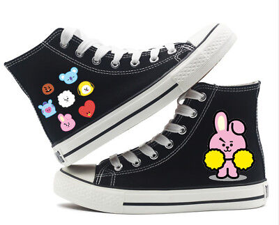 Kpop BTS BT21 COOKY High top Canvas Flat Unisex Men WomanCausal Fashion Shoes