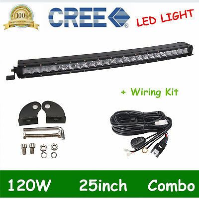 25inch 120W Single Row CURVED LED Light Bar 3D LENS Offroad RZR+WIRING KIT 22/24