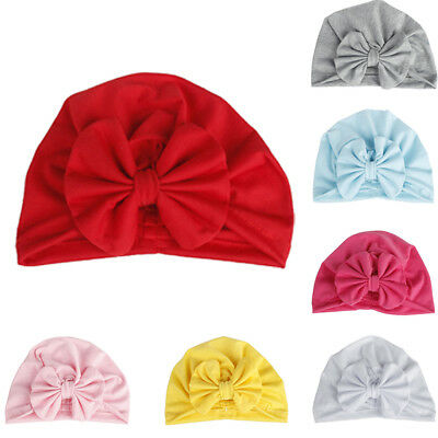 AU Baby Boy Girl Newborn Toddler Kids Beanie Solid Bow Knot Wrap Cap Turban Hats