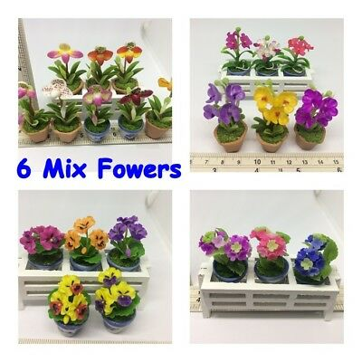 Lot of 50 Mix Clay Flowers Plants with Pot Dollhouse Miniature Plant Handmade
