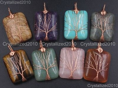 Natural Gemstones Tree Life Rectangle Reiki Healing Pendant Beads Rose Gold 18K