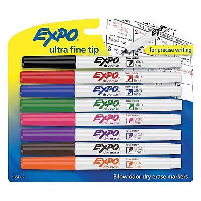 EXPO - Low-Odor Dry-Erase Marker, Ultra Fine Point, Assorted - 8 per Set