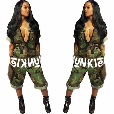 Women Short Sleeves American Flag Camouflage Print Casual Club Party Jumpsuit