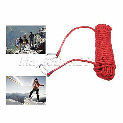 Red Durable 20m/65.6ft Rock Climbing Safety Rappelling Rope Auxiliary Cord Sling