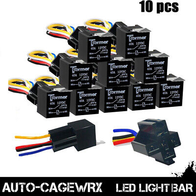 12Pack 12V 30A Fuse Relay Switch Harness Set SPST 4Pin 12 AWG Hot Wires
