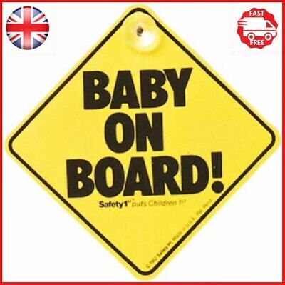 Safety 1st Baby On Board Sign Original Yellow Car Window Suction Safety Sign New