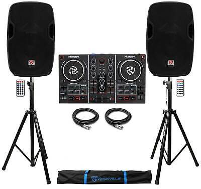 """Numark Party Mix Virtual DJ Controller w/Lights+(2) Powered 10"""" Speakers+Stands"""