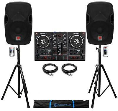 """Numark Party Mix Virtual DJ Controller w/Lights+(2) Powered 12"""" Speakers+Stands"""