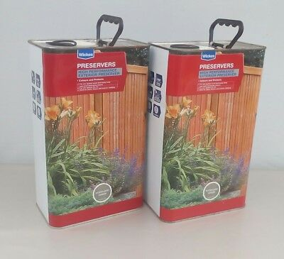 2 X 5 Litre Wickes High Performance Exterior Wood Preserver Woodland