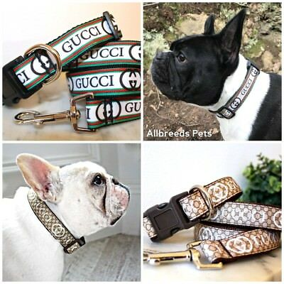 Allbreeds Italian Designer Dog Collar & Lead Set, Fashion French Bulldog Collar