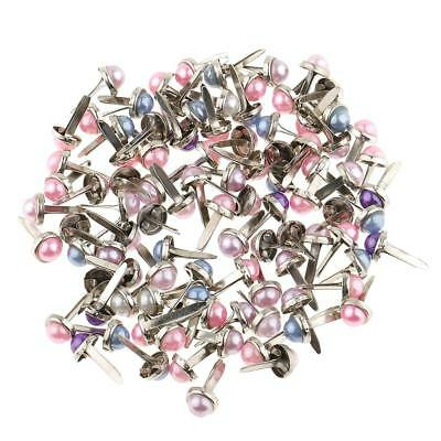 200 Pieces Pearl Head Metal Brads Paper Fastener for Scrapbooking Craft 6mm