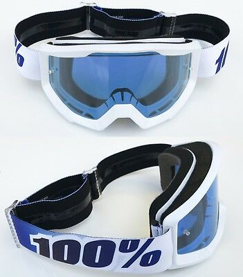 100% PERCENT STRATA MOTOCROSS MX BIKE GOGGLES EQUINOX WHITE with BLUE TINT LENS