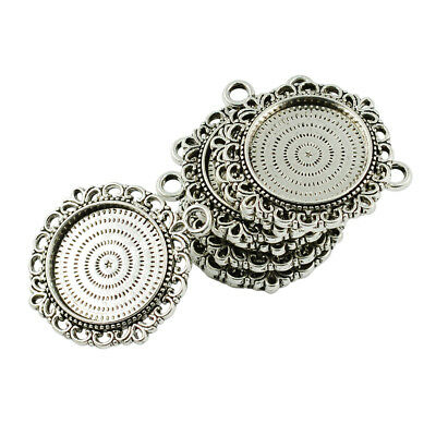 10pcs Vintage Silver Round Cabochon Settings Pendant Blanks Tray Base 20mm