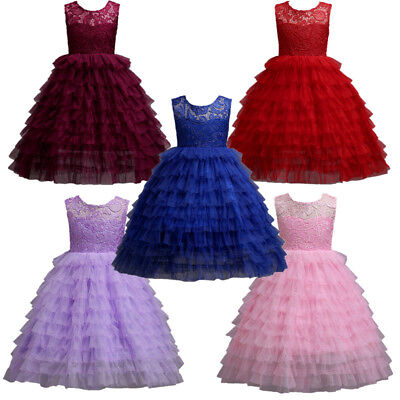 Girls Kids Princess Wedding Pageant Bridesmaid Birthday Party Formal Long Dress
