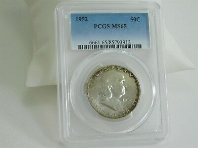 1952 PCGS MS65 50C Coin Franklin Half Dollar Certified Uncirculated MC480