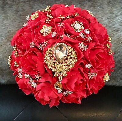 Bride Bouquet Red Rose Gold Crystal Brooch Indian Asian Bridal Wedding Flowers