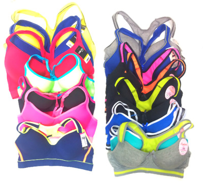 Mixed Wholesale Lot Of 15 Sports Racerback Padded Bras Assorted Brands Colors