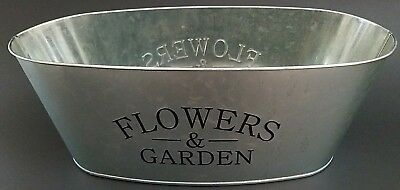 "Window Planters Printed 'Flowers & Garden' Oval Galvanized 11x5x4"" Select Number"