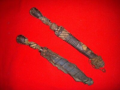 Antique African Handmade Knife w/Leather Sheath dagger Congo/Zaire old swords 2