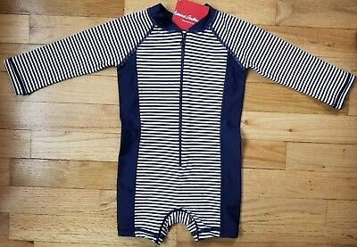 NWT Hanna Andersson Long Sleeve  Swimmy Rash Guard NAVY WHITE STRIPE 75 12 18M