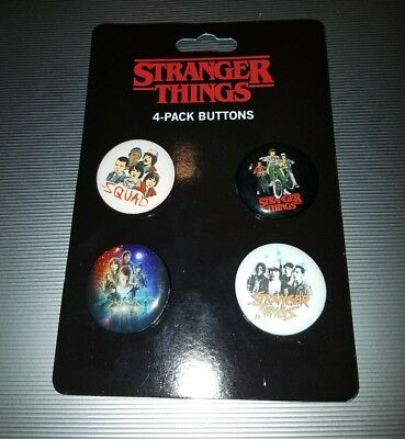 Loungefly Netflix Official Stranger Things Squad 4-Pack Buttons - 100% Authentic